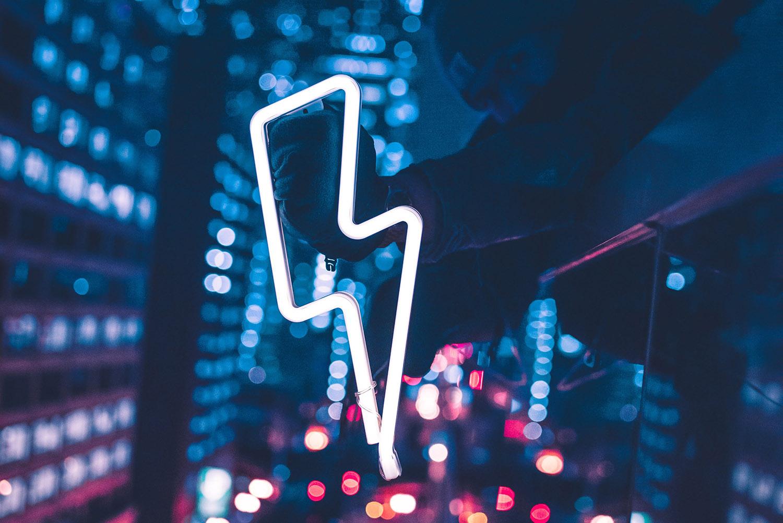 Neon lightning bolt